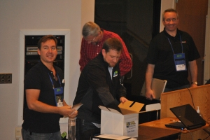 Prize giveaways at the end of SQLSaturday Kalamazoo