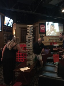Some intense Jenga going on at the speaker dinner.